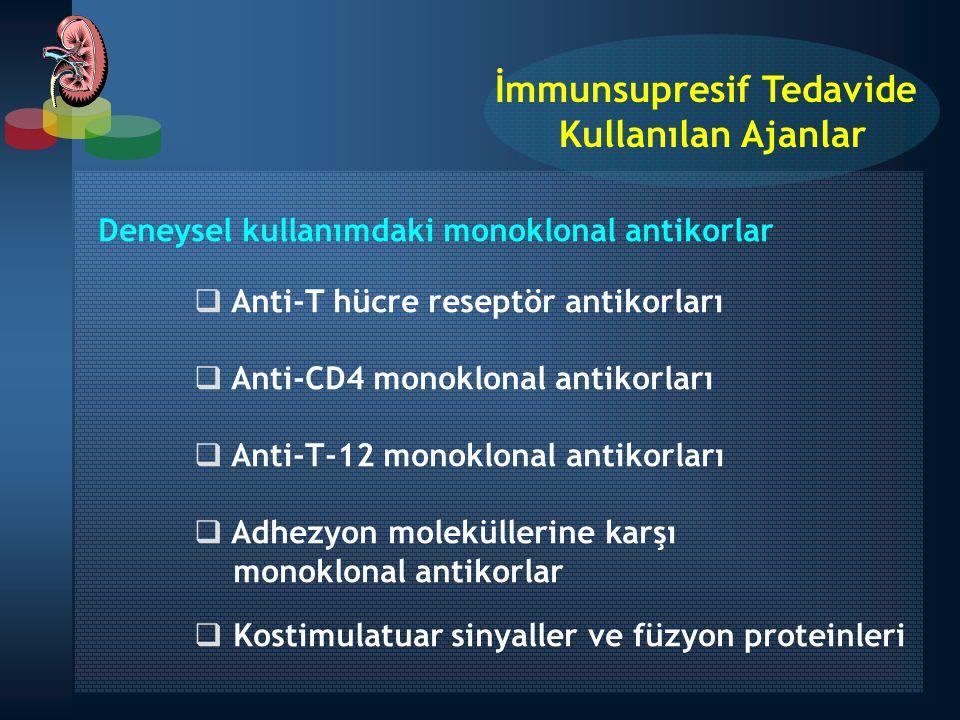 Deneysel kullanımdaki monoklonal antikorlar  Anti-T hücre reseptör antikorları  Anti-CD4 monoklonal antikorları  Anti-T-12 monoklonal antikorları 