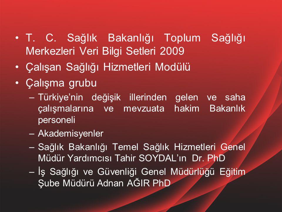 T. C. Sağlık Bakanlığı Toplum Sağlığı Merkezleri Veri Bilgi Setleri 2009 Çalışan Sağlığı Hizmetleri Modülü Çalışma grubu –Türkiye'nin değişik illerind