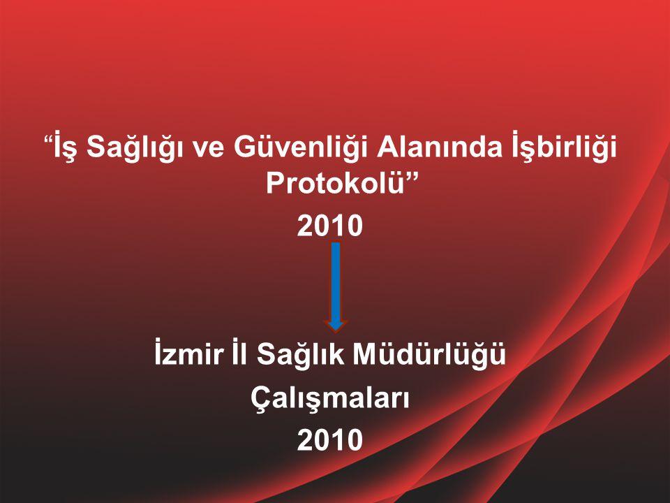 """""""İş Sağlığı ve Güvenliği Alanında İşbirliği Protokolü"""" 2010 İzmir İl Sağlık Müdürlüğü Çalışmaları 2010"""
