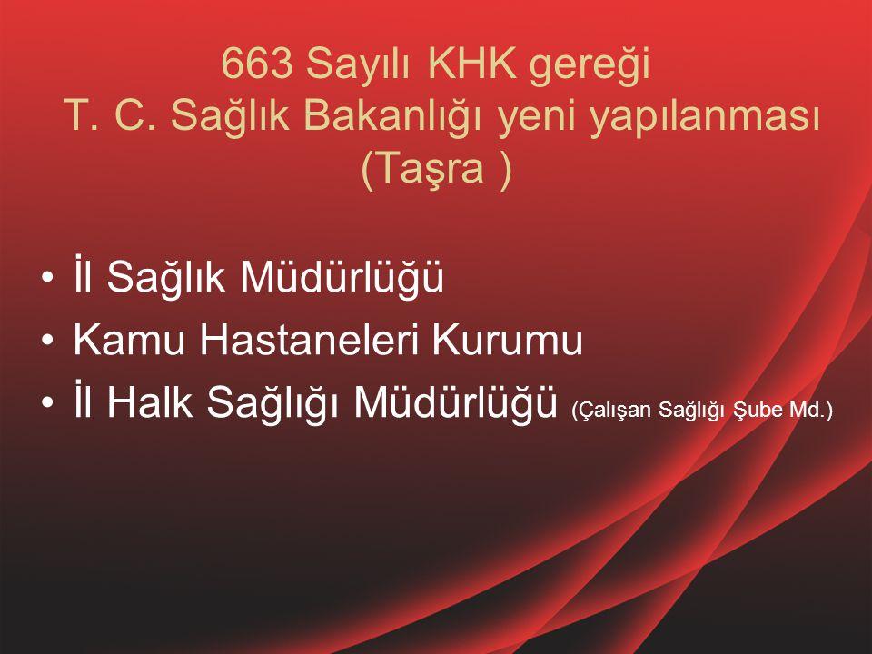 663 Sayılı KHK gereği T. C. Sağlık Bakanlığı yeni yapılanması (Taşra ) İl Sağlık Müdürlüğü Kamu Hastaneleri Kurumu İl Halk Sağlığı Müdürlüğü (Çalışan