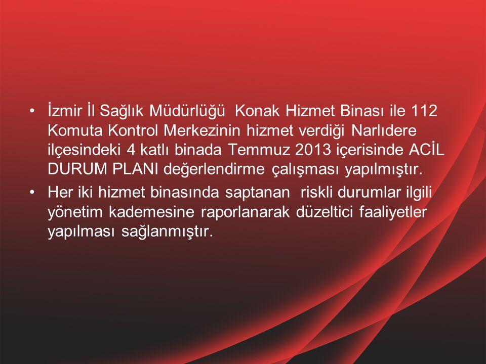 İzmir İl Sağlık Müdürlüğü Konak Hizmet Binası ile 112 Komuta Kontrol Merkezinin hizmet verdiği Narlıdere ilçesindeki 4 katlı binada Temmuz 2013 içeris