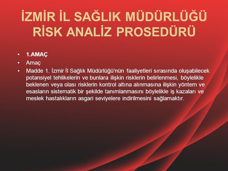 İZMİR İL SAĞLIK MÜDÜRLÜĞÜ RİSK ANALİZ PROSEDÜRÜ 1.AMAÇ Amaç Madde 1. İzmir İl Sağlık Müdürlüğü'nün faaliyetleri sırasında oluşabilecek potansiyel tehl