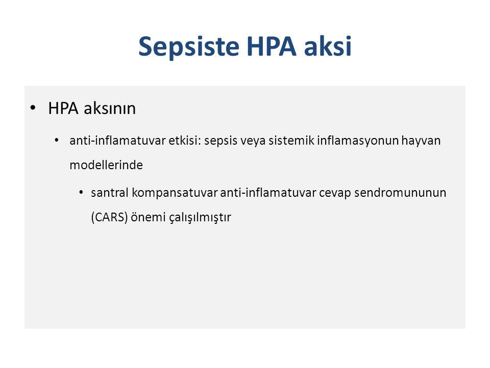 Sepsiste HPA aksi İmmün sistem HPA aksini aktive eder: – Direkt olarak glukokortikoidler salınır Besedovsky ve ark tarafından – HPA aks ve doğal immün hücrelerin aktivasyonu ile salınan inflamatuvar sitokinler arasında etkileşim gösterilmiştir – IL-β glikokortikoidlerin salınımını uyarır ve karşı etki oluşur (IL-β ve glukokortikoid salınımının feedback inhibisyon mekanizmalarına sahip)