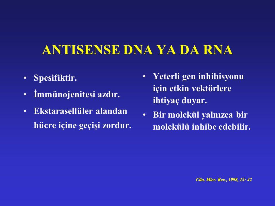 ANTISENSE DNA YA DA RNA Spesifiktir. İmmünojenitesi azdır. Ekstarasellüler alandan hücre içine geçişi zordur. Yeterli gen inhibisyonu için etkin vektö