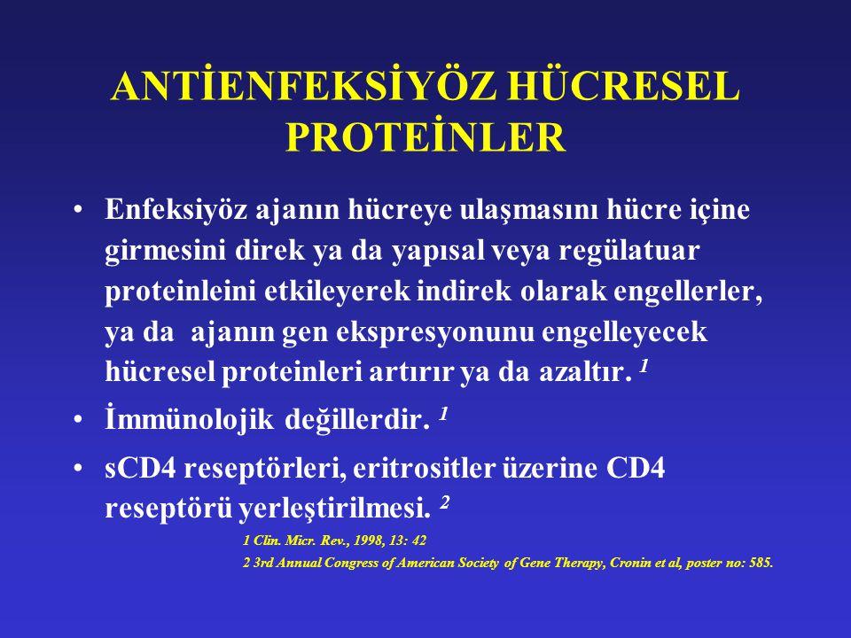 ANTİENFEKSİYÖZ HÜCRESEL PROTEİNLER Enfeksiyöz ajanın hücreye ulaşmasını hücre içine girmesini direk ya da yapısal veya regülatuar proteinleini etkiley