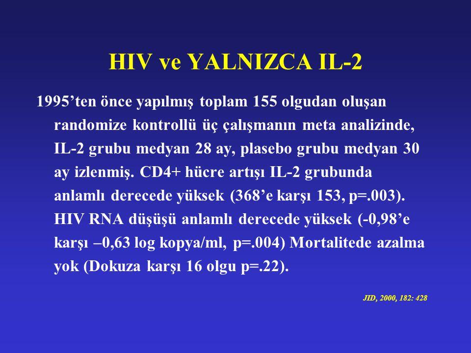 HIV ve YALNIZCA IL-2 1995'ten önce yapılmış toplam 155 olgudan oluşan randomize kontrollü üç çalışmanın meta analizinde, IL-2 grubu medyan 28 ay, plas
