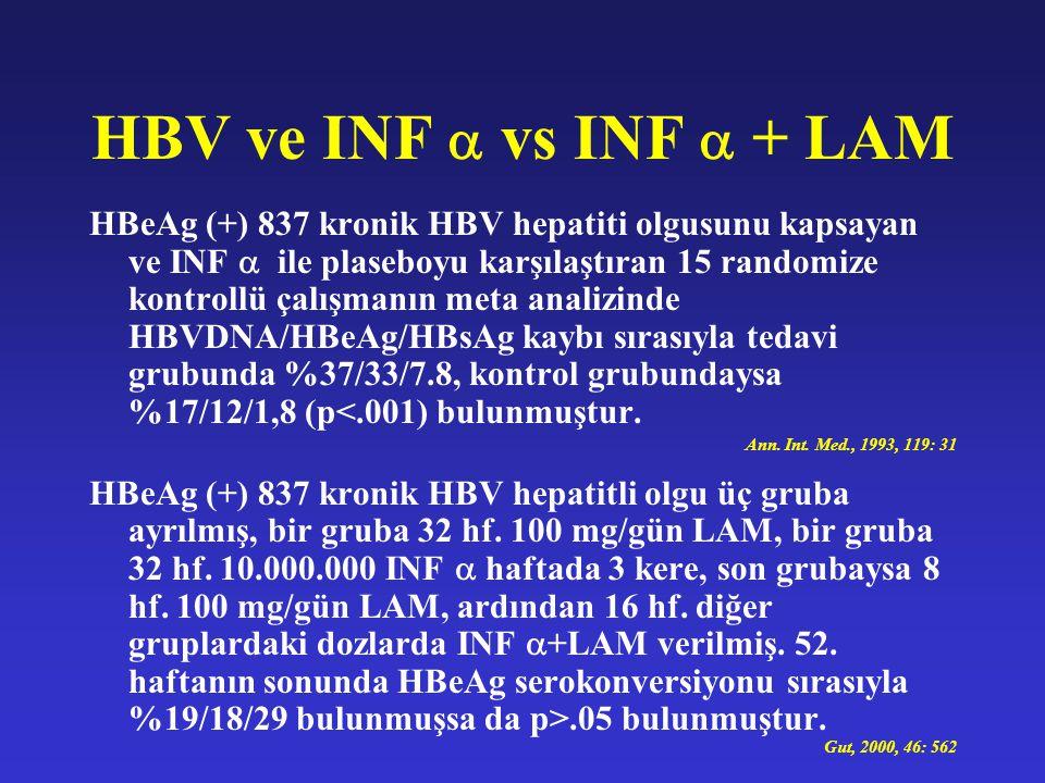 HBV ve INF  vs INF  + LAM HBeAg (+) 837 kronik HBV hepatiti olgusunu kapsayan ve INF  ile plaseboyu karşılaştıran 15 randomize kontrollü çalışmanın