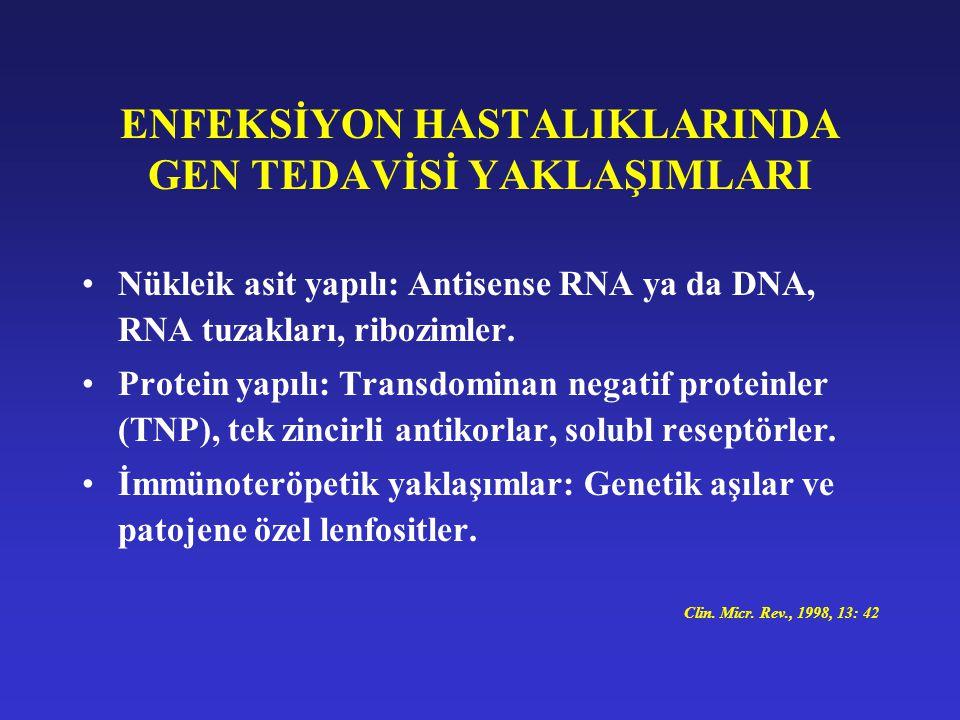 ENFEKSİYON HASTALIKLARINDA GEN TEDAVİSİ YAKLAŞIMLARI Nükleik asit yapılı: Antisense RNA ya da DNA, RNA tuzakları, ribozimler. Protein yapılı: Transdom