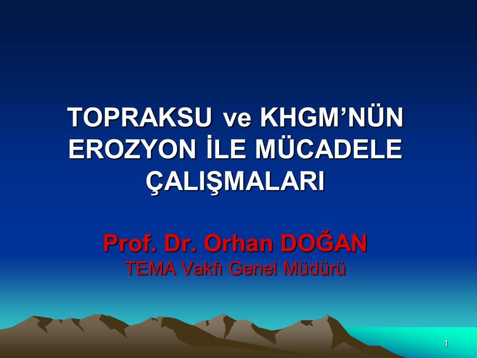 1 TOPRAKSU ve KHGM'NÜN EROZYON İLE MÜCADELE ÇALIŞMALARI Prof.