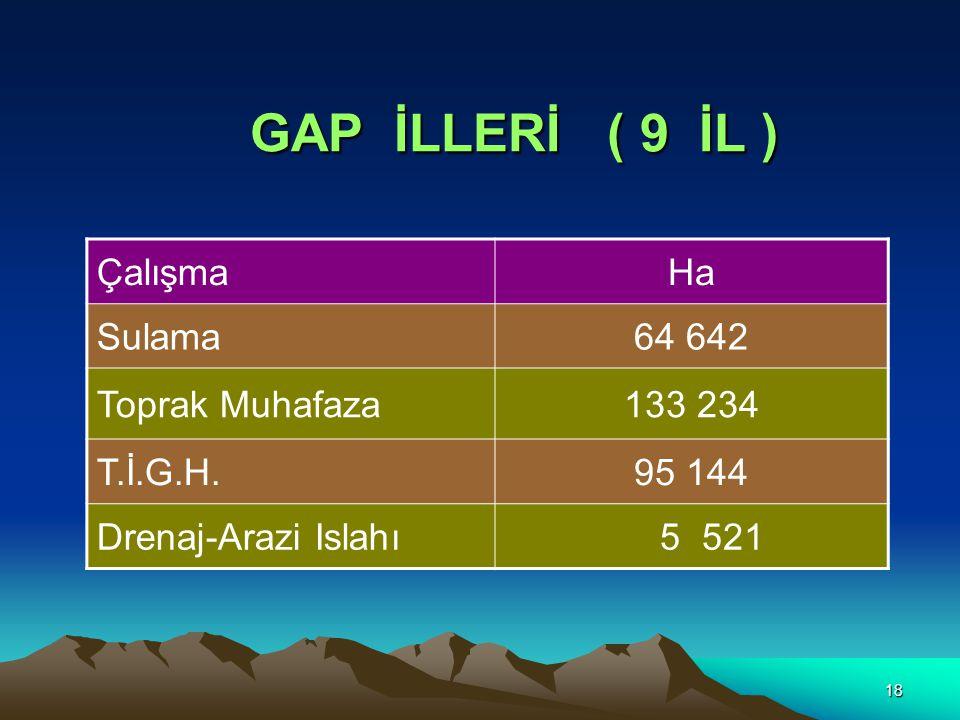 18 GAP İLLERİ ( 9 İL ) ÇalışmaHa Sulama64 642 Toprak Muhafaza133 234 T.İ.G.H.95 144 Drenaj-Arazi Islahı 5 521