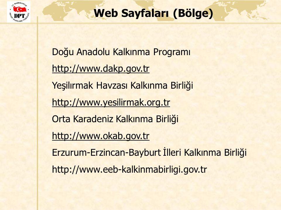 Web Sayfaları (Bölge) Doğu Anadolu Kalkınma Programı http://www.dakp.gov.tr Yeşilırmak Havzası Kalkınma Birliği http://www.yesilirmak.org.tr Orta Kara