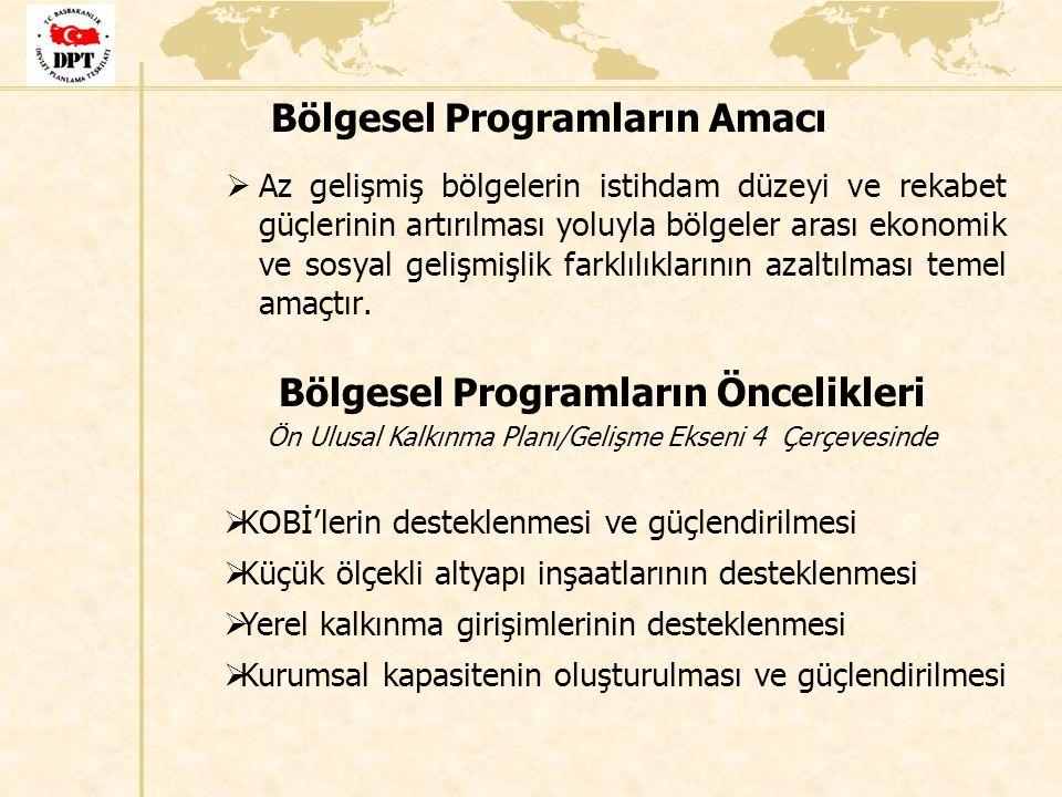 Bölgesel Programların Amacı  Az gelişmiş bölgelerin istihdam düzeyi ve rekabet güçlerinin artırılması yoluyla bölgeler arası ekonomik ve sosyal geliş