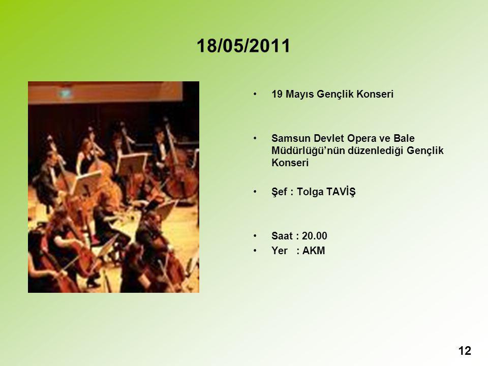 18/05/2011 19 Mayıs Gençlik Konseri Samsun Devlet Opera ve Bale Müdürlüğü'nün düzenlediği Gençlik Konseri Şef : Tolga TAVİŞ Saat : 20.00 Yer : AKM 12