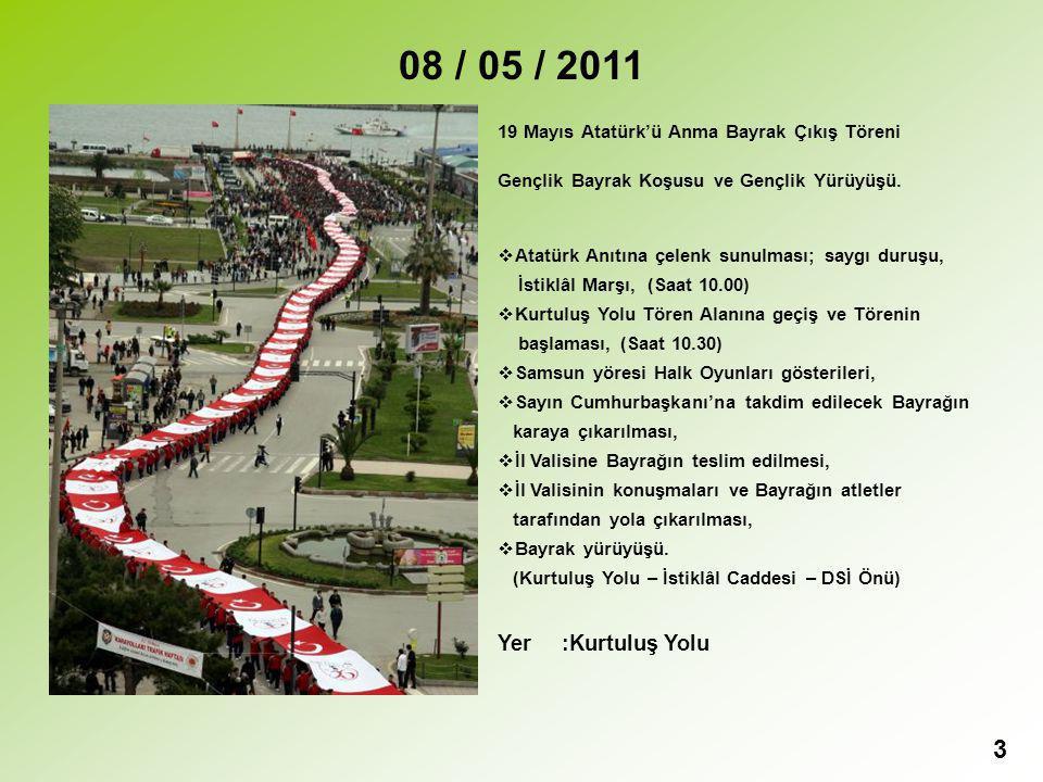 3 08 / 05 / 2011 19 Mayıs Atatürk'ü Anma Bayrak Çıkış Töreni Gençlik Bayrak Koşusu ve Gençlik Yürüyüşü.