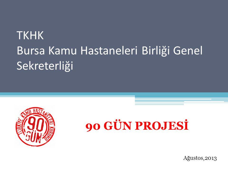 TKHK Bursa Kamu Hastaneleri Birliği Genel Sekreterliği 90 GÜN PROJESİ Ağustos,2013