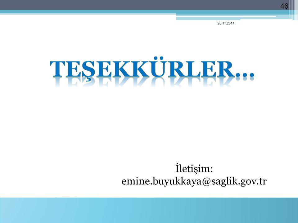 İletişim: emine.buyukkaya@saglik.gov.tr 20.11.2014 46