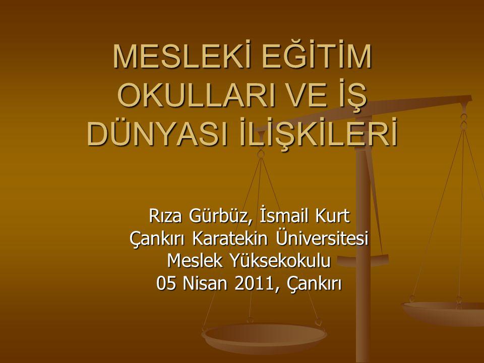 MESLEKİ EĞİTİM OKULLARI VE İŞ DÜNYASI İLİŞKİLERİ Rıza Gürbüz, İsmail Kurt Çankırı Karatekin Üniversitesi Meslek Yüksekokulu 05 Nisan 2011, Çankırı