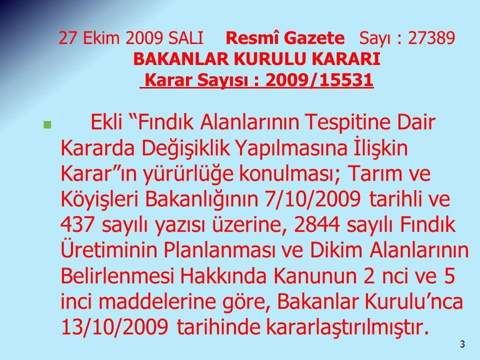 """27 Ekim 2009 SALI Resmî Gazete Sayı : 27389 BAKANLAR KURULU KARARI Karar Sayısı : 2009/15531 Ekli """"Fındık Alanlarının Tespitine Dair Kararda Değişikli"""