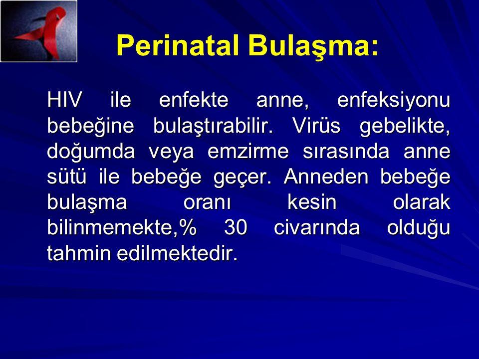 Perinatal Bulaşma: HIV ile enfekte anne, enfeksiyonu bebeğine bulaştırabilir. Virüs gebelikte, doğumda veya emzirme sırasında anne sütü ile bebeğe geç