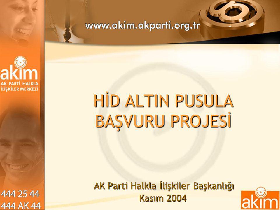 HİD ALTIN PUSULA BAŞVURU PROJESİ AK Parti Halkla İlişkiler Başkanlığı AK Parti Halkla İlişkiler Başkanlığı Kasım 2004