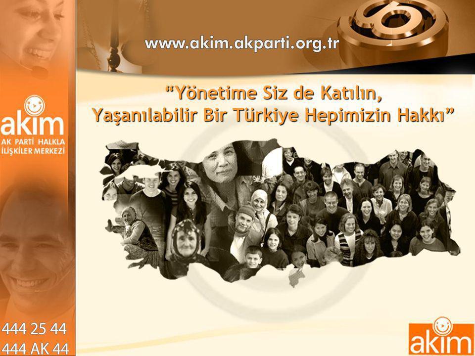 """""""Yönetime Siz de Katılın, Yaşanılabilir Bir Türkiye Hepimizin Hakkı"""""""