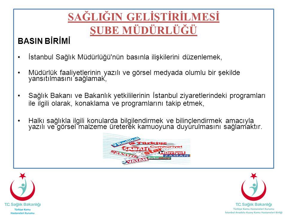BASIN BİRİMİ İstanbul Sağlık Müdürlüğü nün basınla ilişkilerini düzenlemek, Müdürlük faaliyetlerinin yazılı ve görsel medyada olumlu bir şekilde yansıtılmasını sağlamak, Sağlık Bakanı ve Bakanlık yetkililerinin İstanbul ziyaretlerindeki programları ile ilgili olarak, konaklama ve programlarını takip etmek, Halkı sağlıkla ilgili konularda bilgilendirmek ve bilinçlendirmek amacıyla yazılı ve görsel malzeme üreterek kamuoyuna duyurulmasını sağlamaktır.