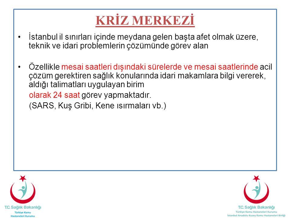 İstanbul il sınırları içinde meydana gelen başta afet olmak üzere, teknik ve idari problemlerin çözümünde görev alan Özellikle mesai saatleri dışındaki sürelerde ve mesai saatlerinde acil çözüm gerektiren sağlık konularında idari makamlara bilgi vererek, aldığı talimatları uygulayan birim olarak 24 saat görev yapmaktadır.