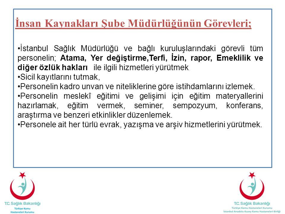 İnsan Kaynakları Şube Müdürlüğünün Görevleri; İstanbul Sağlık Müdürlüğü ve bağlı kuruluşlarındaki görevli tüm personelin; Atama, Yer değiştirme,Terfi,