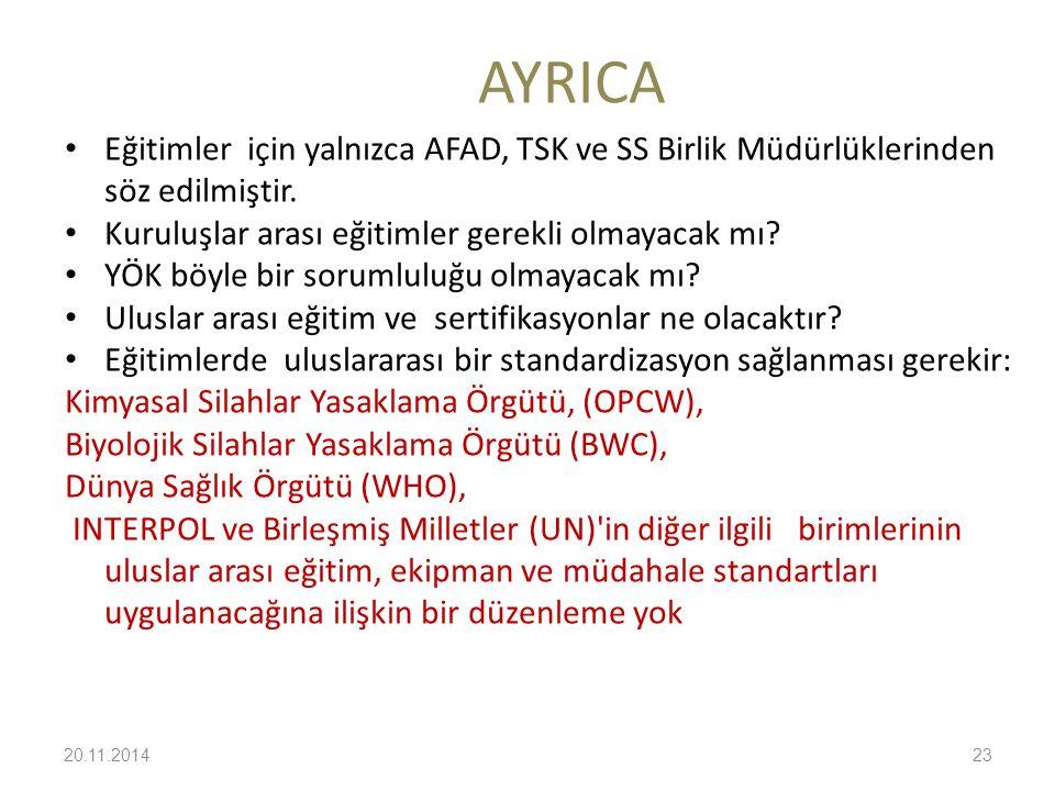 AYRICA Eğitimler için yalnızca AFAD, TSK ve SS Birlik Müdürlüklerinden söz edilmiştir. Kuruluşlar arası eğitimler gerekli olmayacak mı? YÖK böyle bir