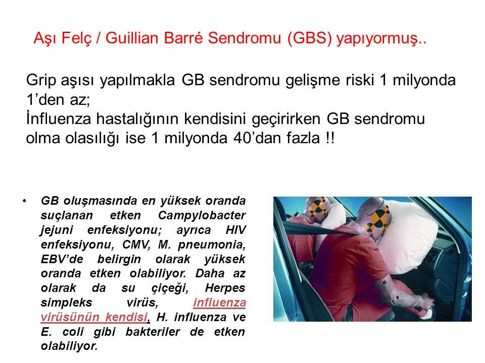 Aşı Felç / Guillian Barré Sendromu (GBS) yapıyormuş.. Grip aşısı yapılmakla GB sendromu gelişme riski 1 milyonda 1'den az; İnfluenza hastalığının kend