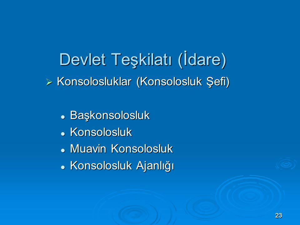 22 Devlet Teşkilatı (İdare)  Diplomatik Temsilcilikler (Misyon Şefi) Büyükelçilik Büyükelçilik Daimi temsilcilik Daimi temsilcilik Temsilcilik Temsil