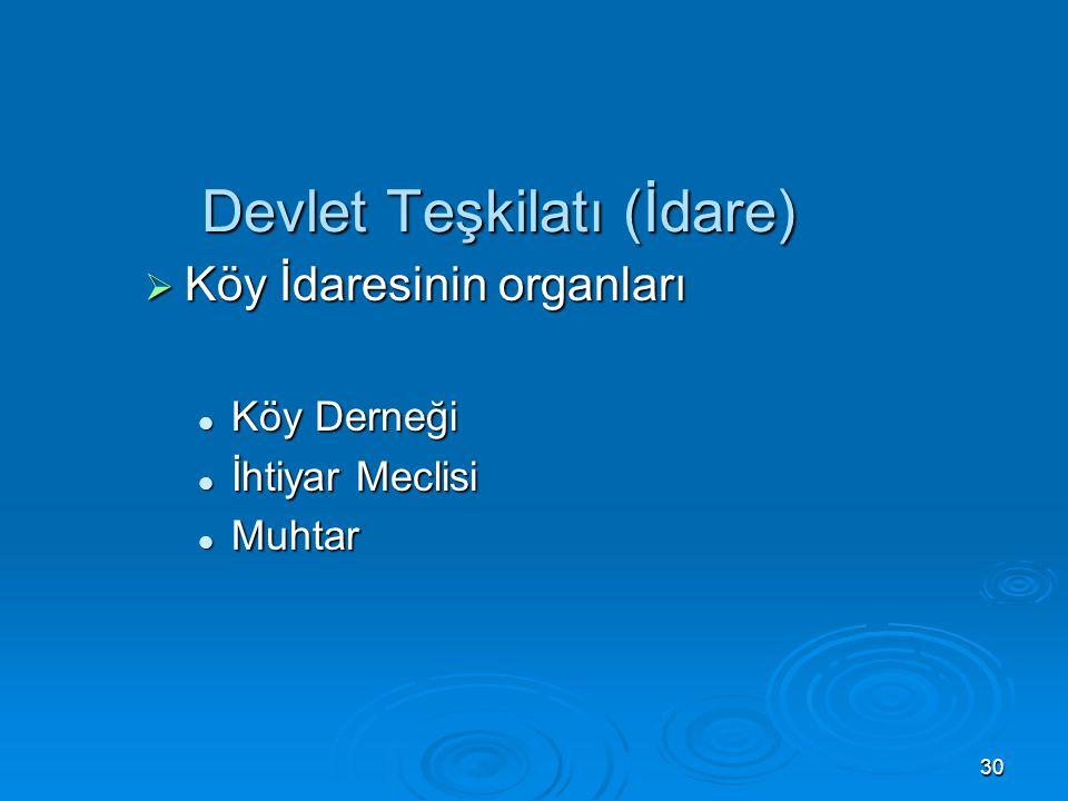 29 Devlet Teşkilatı (İdare)  Belediyenin Organları (5393 s. K.) Belediye Meclisi Belediye Meclisi Belediye Encümeni Belediye Encümeni Belediye Başkan