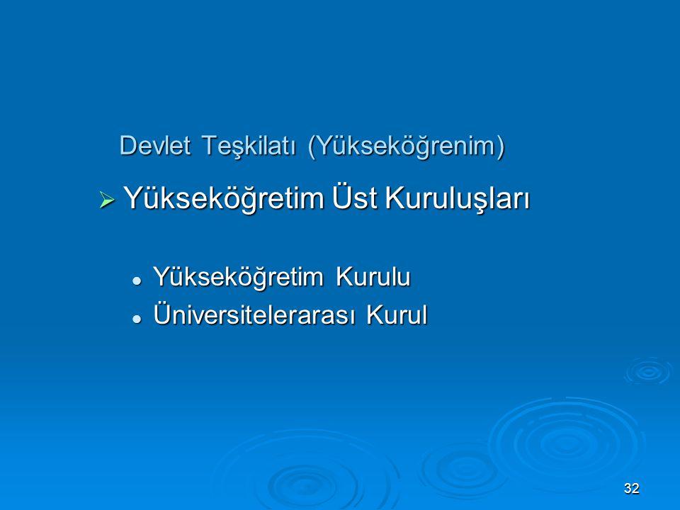 31 Devlet Teşkilatı (İdare)  Hizmet Yönünden Yerinden Yönetim Kuruluşları Üniversiteler Üniversiteler Türkiye Radyo ve Televizyon Kurumu Türkiye Rady