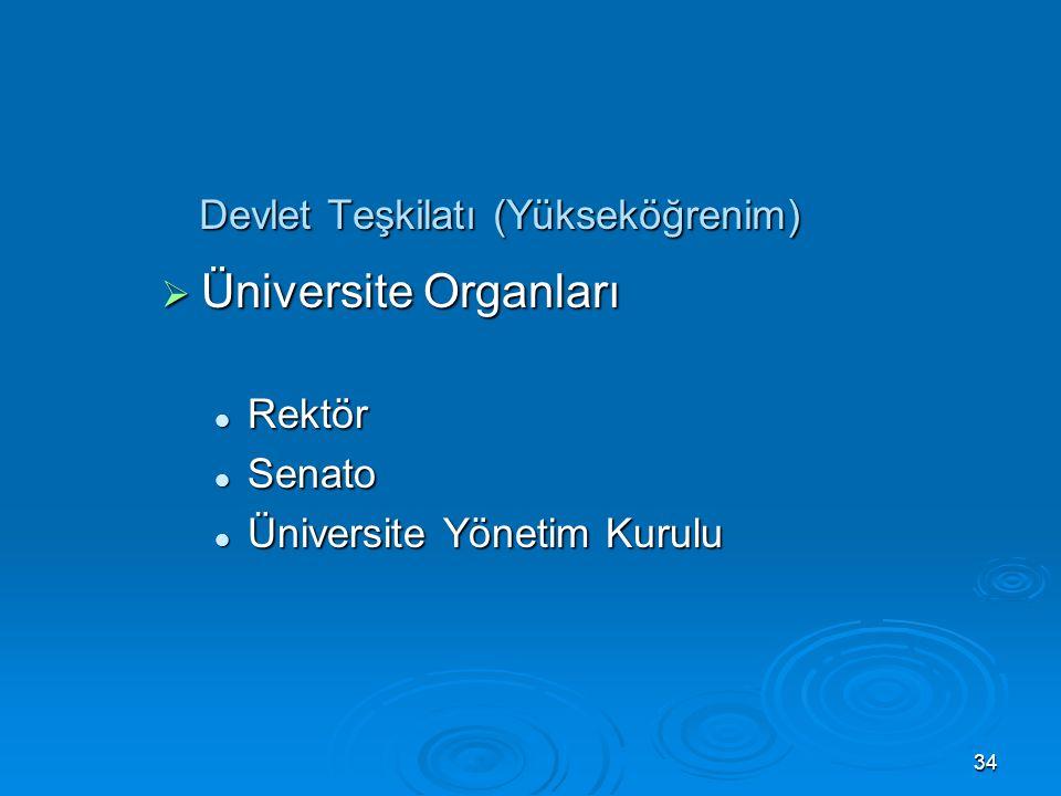 33 Devlet Teşkilatı (Yükseköğrenim)  Yükseköğretim Kurumları Üniversite Üniversite Yüksek Teknoloji Enstitüsü Yüksek Teknoloji Enstitüsü Fakülte Fakü