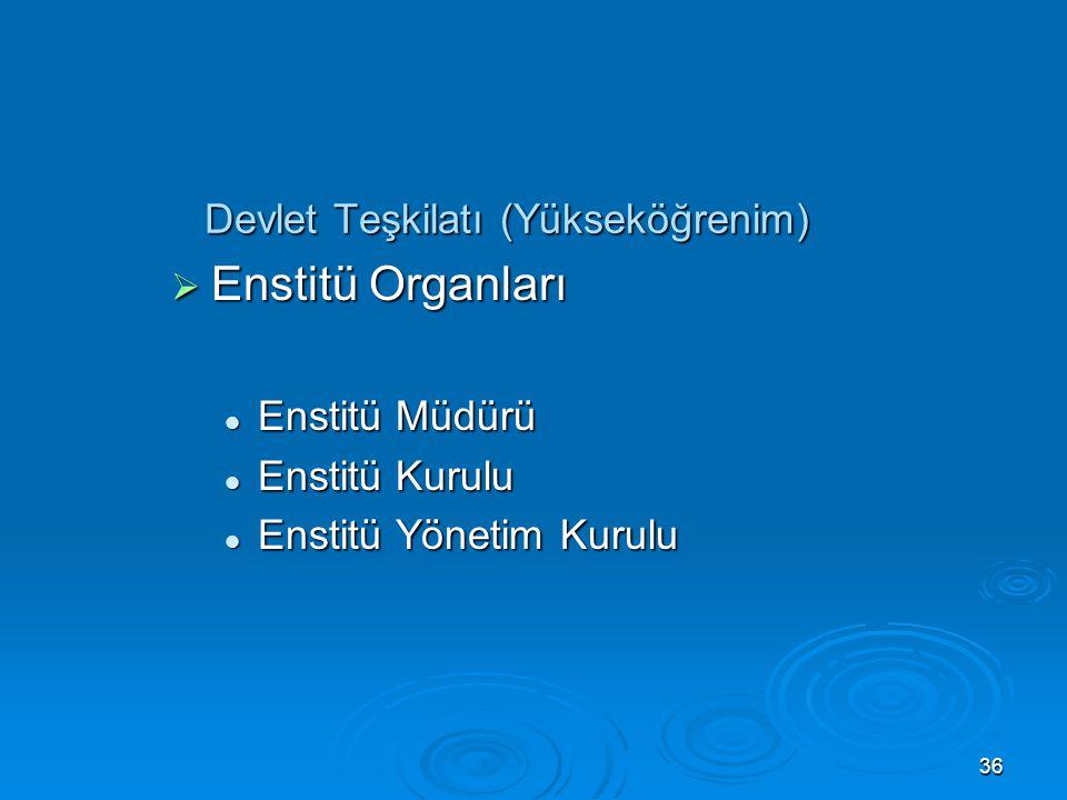 35 Devlet Teşkilatı (Yükseköğrenim)  Fakülte Organları Dekan Dekan Fakülte Kurulu Fakülte Kurulu Fakülte Yönetim Kurulu Fakülte Yönetim Kurulu