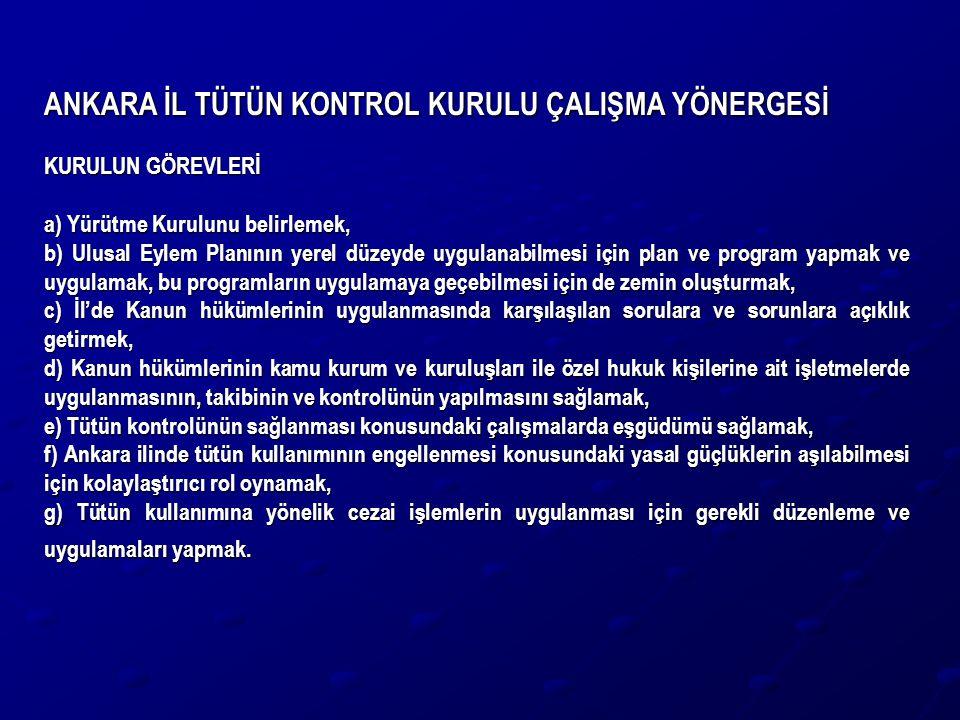 ANKARA İL TÜTÜN KONTROL KURULU ÇALIŞMA YÖNERGESİ KURULUN GÖREVLERİ a) Yürütme Kurulunu belirlemek, b) Ulusal Eylem Planının yerel düzeyde uygulanabilm