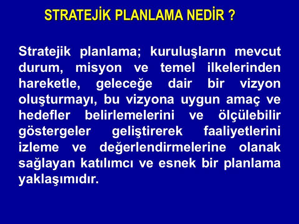 Stratejik planlama; kuruluşların mevcut durum, misyon ve temel ilkelerinden hareketle, geleceğe dair bir vizyon oluşturmayı, bu vizyona uygun amaç ve