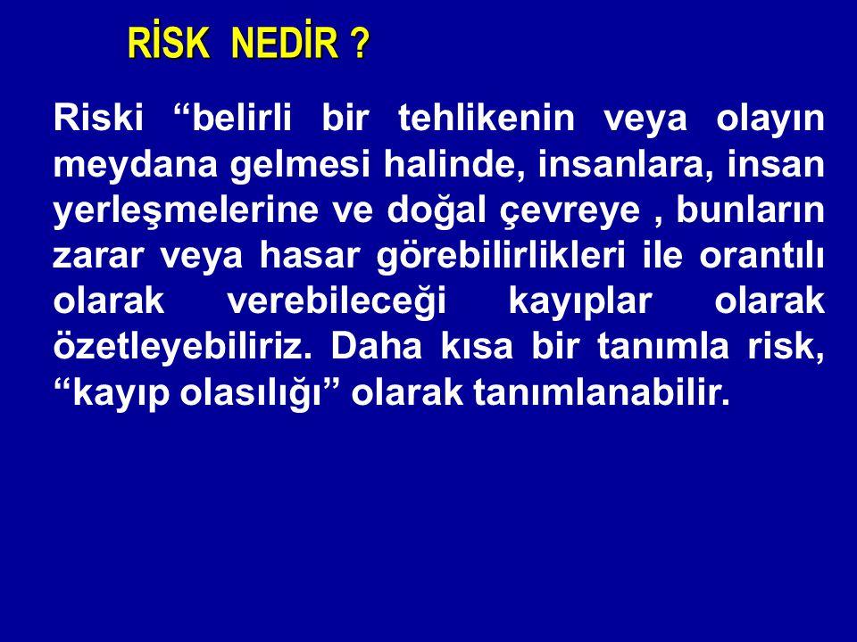 """Riski """"belirli bir tehlikenin veya olayın meydana gelmesi halinde, insanlara, insan yerleşmelerine ve doğal çevreye, bunların zarar veya hasar görebil"""