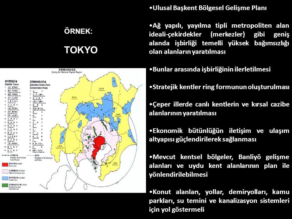 TOKYO Ulusal Başkent Bölgesel Gelişme Planı Ağ yapılı, yayılma tipli metropoliten alan ideali-çekirdekler (merkezler) gibi geniş alanda işbirliği teme