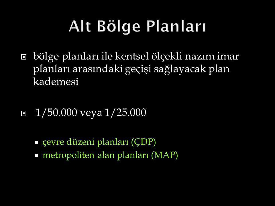  bölge planları ile kentsel ölçekli nazım imar planları arasındaki geçişi sağlayacak plan kademesi  1/50.000 veya 1/25.000  çevre düzeni planları (