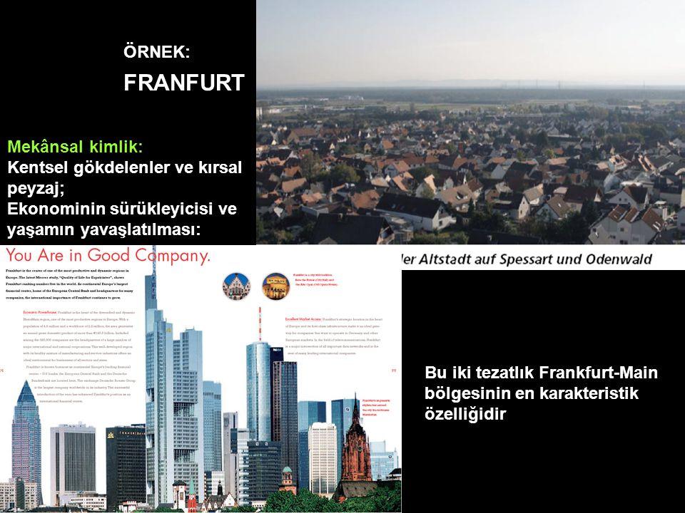 Mekânsal kimlik: Kentsel gökdelenler ve kırsal peyzaj; Ekonominin sürükleyicisi ve yaşamın yavaşlatılması: Bu iki tezatlık Frankfurt-Main bölgesinin e