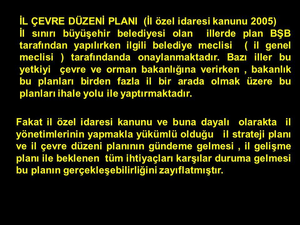 İL ÇEVRE DÜZENİ PLANI (İl özel idaresi kanunu 2005) İl sınırı büyüşehir belediyesi olan illerde plan BŞB tarafından yapılırken ilgili belediye meclisi