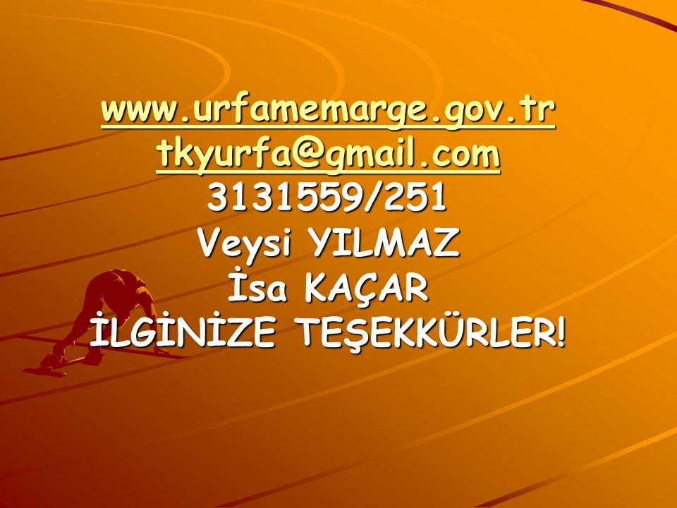 www.urfamemarge.gov.tr tkyurfa@gmail.com www.urfamemarge.gov.tr tkyurfa@gmail.com 3131559/251 Veysi YILMAZ İsa KAÇAR İLGİNİZE TEŞEKKÜRLER.