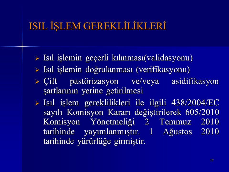 19 ISIL İŞLEM GEREKLİLİKLERİ  Isıl işlemin geçerli kılınması(validasyonu)  Isıl işlemin doğrulanması (verifikasyonu)  Çift pastörizasyon ve/veya as