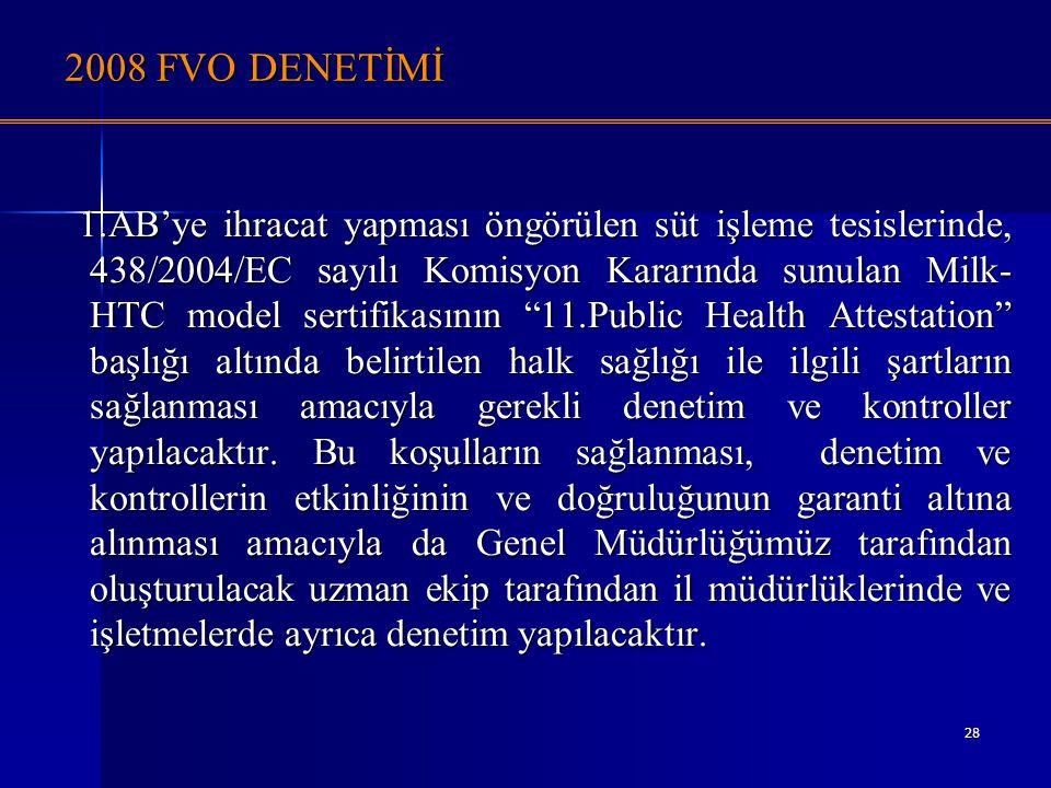 28 2008 FVO DENETİMİ 1.AB'ye ihracat yapması öngörülen süt işleme tesislerinde, 438/2004/EC sayılı Komisyon Kararında sunulan Milk- HTC model sertifik