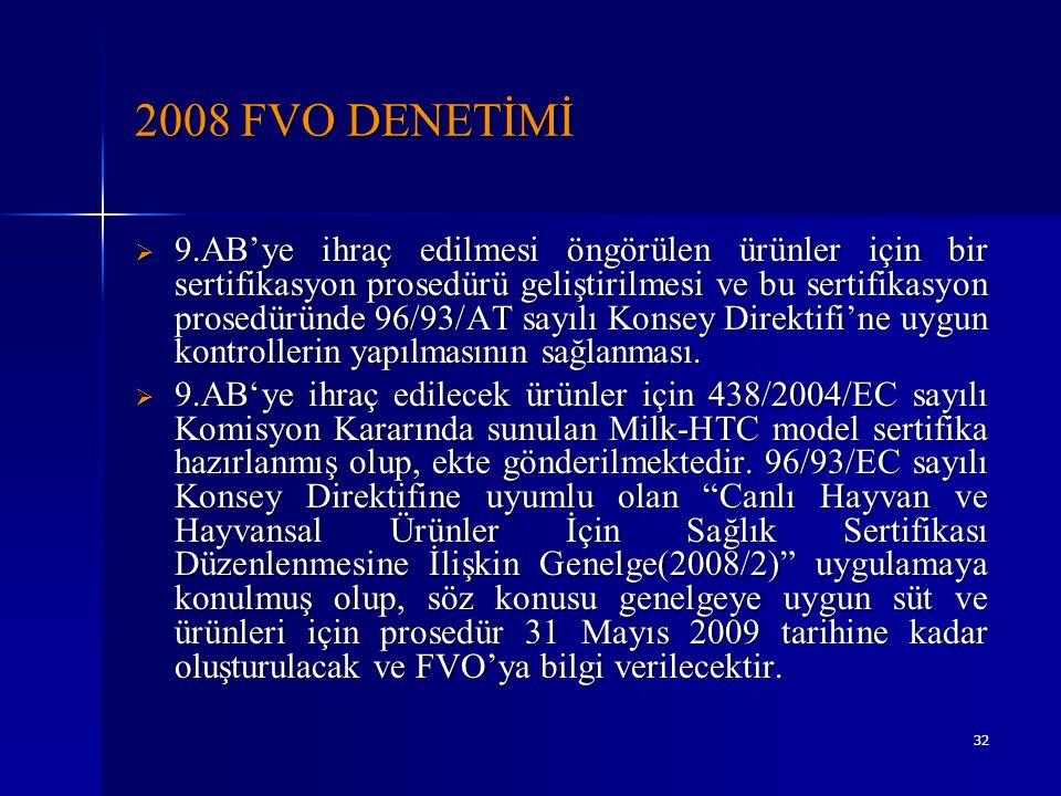 32 2008 FVO DENETİMİ  9.AB'ye ihraç edilmesi öngörülen ürünler için bir sertifikasyon prosedürü geliştirilmesi ve bu sertifikasyon prosedüründe 96/93