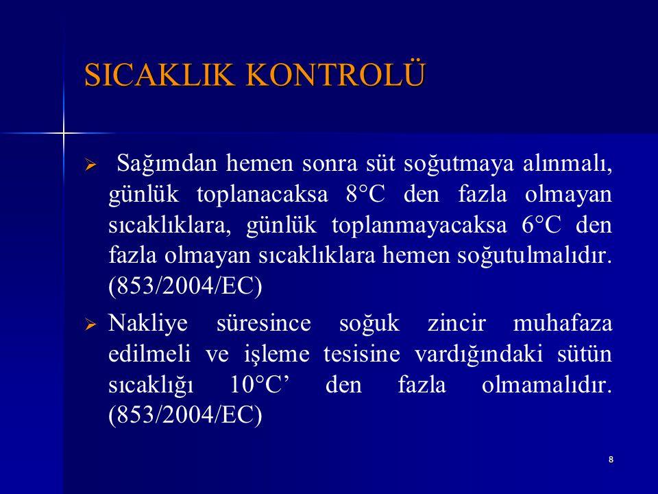 8 SICAKLIK KONTROLÜ   Sağımdan hemen sonra süt soğutmaya alınmalı, günlük toplanacaksa 8°C den fazla olmayan sıcaklıklara, günlük toplanmayacaksa 6°
