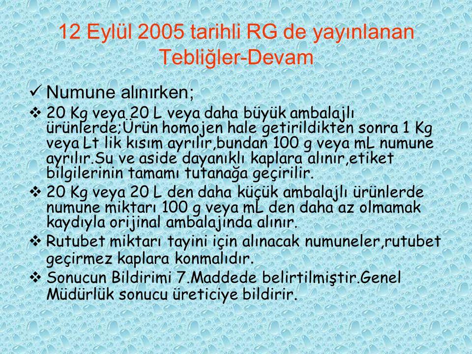 12 Eylül 2005 tarihli RG de yayınlanan Tebliğler-Devam Numune alınırken;  20 Kg veya 20 L veya daha büyük ambalajlı ürünlerde;Ürün homojen hale getir