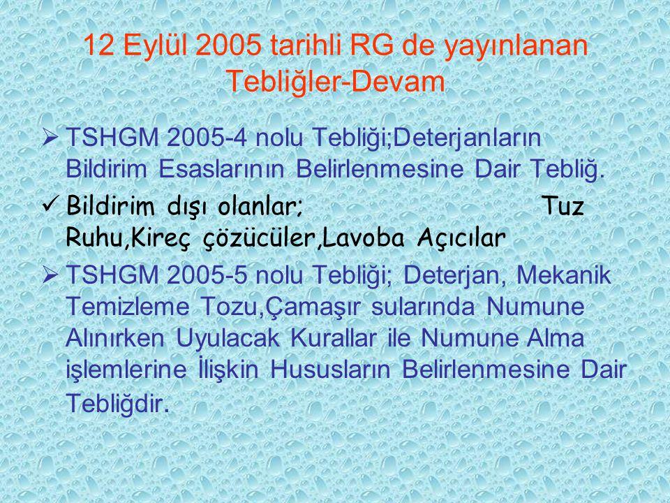 12 Eylül 2005 tarihli RG de yayınlanan Tebliğler-Devam  TSHGM 2005-4 nolu Tebliği;Deterjanların Bildirim Esaslarının Belirlenmesine Dair Tebliğ. Bild