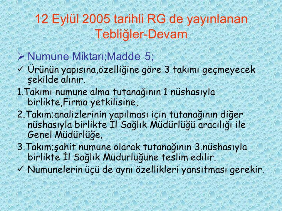 12 Eylül 2005 tarihli RG de yayınlanan Tebliğler-Devam  Numune Miktarı;Madde 5; Ürünün yapısına,özelliğine göre 3 takımı geçmeyecek şekilde alınır. 1
